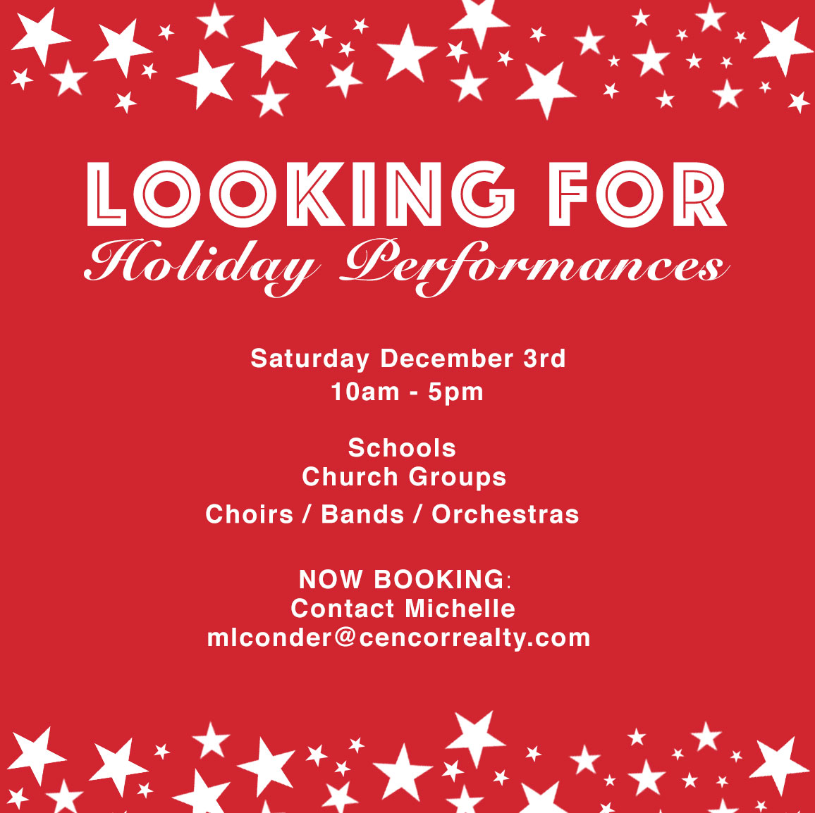 Dominion Ridge Holiday Performances Reminder